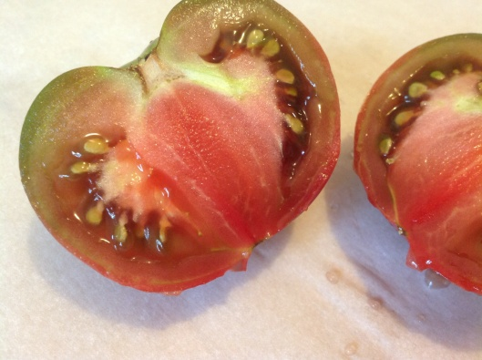 An Heirloom tomato that is the pride and joy of our little Austin, Texas backyard garden. Just picked May 28, 2013.