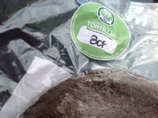 Eight pack of blue corn tortillas from Gardener's Feast booth @ downtown SFC market (Saturdays).