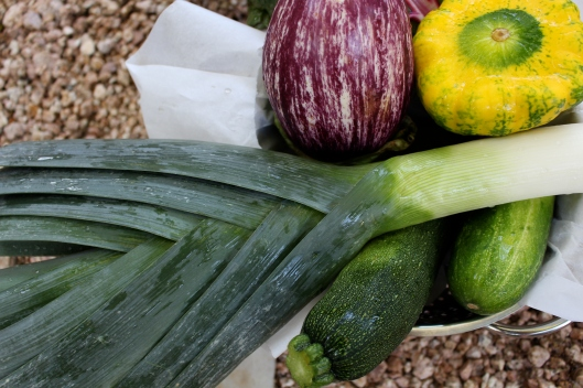 This is just some of the color from today's workshare box. (I cannot wait to work with the leeks and the sweet potato gratin from the Veggie Times.)