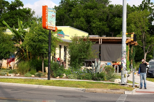 Bouldin Creek Cafe where my fav is the garden salad (fresh organic tomatoes) and garlic tahini dressing is to die for. (Oh, and the corn tortilla stuffed with mushroom and spinach. And salsa. Ask for THE NEAL.)