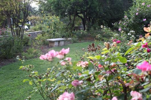 Rose Garden Bench at Green Pastures Restaurant.