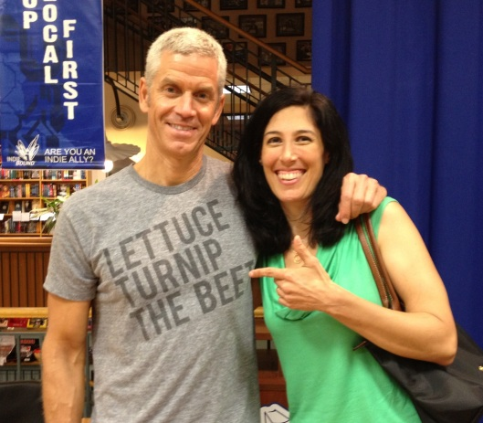 AUSTIN, TX -- Rip Esselstyn and me @ his book signing at Book People last week. He encouraged everyone to just go 'all-in' PLANT STRONG. Gotta love that shirt!