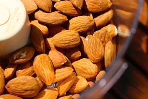 About two cups of almonds go in the food processor.