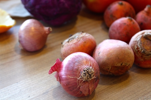Creole Red Onion (spicy). From downtown Austin farmer's market to our Sunday plate (prolly toppin grilled burgers of some sort.)