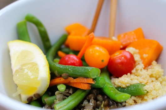 Tonight's Buddha Bowl featured Couscous, Black 'Beluga' Lentils, Green Beans and Sweet Potato. YUM!