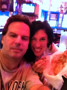 Me and George attacking at Hut's Hamburgers. (Sorry 'bout image quality. had to shoot w/ i-phone.)
