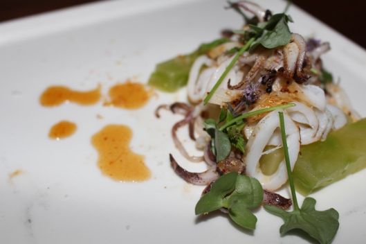Squid with tomatillo -- very light dish.