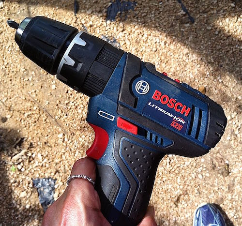 Meet 'Benny the Bosch' -- my new power drill. This bad boy got me through the rest of the project. (I had started with a not-so-powerful Ryobi that was gonna 'carpal-tunnel' me if I kept using it. Wish I could show you all the screws that fell to the ground. Boy, now I know why the pros use the power generators and tools ...DUH!)