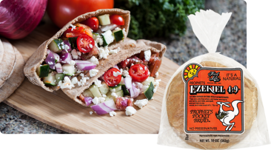 Ezekiel's 'prophet's pocket' is sprouted with no-sugar and can be used for virtually anything. We even cut these up into triangles and toast 'em into chips for hummus.
