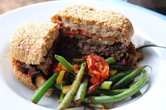 No deprivation here -- last night George put down two of these burgers -- homemade ketchup (no sugar) with pickles, purple onion, mustard -- THE WORKS!! And balsamic green beans/tomato...DIVINE!!
