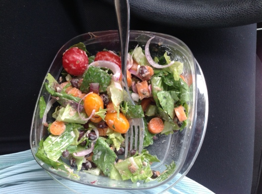 Yes. This is my lunch, on my lap, in the car, probably headed to Home Depot. (Still eating healthy thanks to my weekly JB Johnson Organic Farm share.)