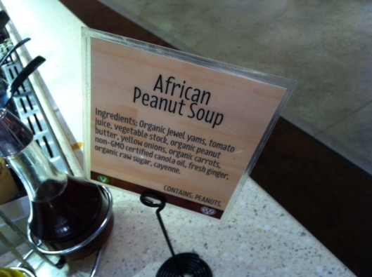 The African Peanut Soup at Wheatsville Co-Op in Austin is to die for. You could put this on a dead rice cake and it would be HEAVEN.