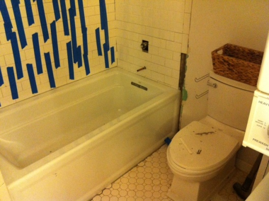 Here's where we netted out today for master bath remodel: Hardibacker up, tiles up -- minus any grout work/caulking.