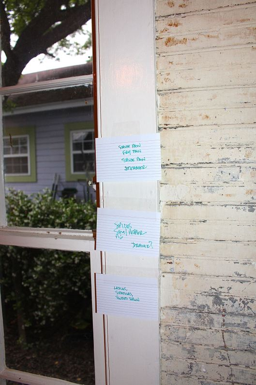 Each index card has a 'must-have.' These are posted where I think the drawer/spot for that item goes.