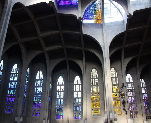 Dazzling colors fill the huge prayer hall -- each minute provides a new light combination.